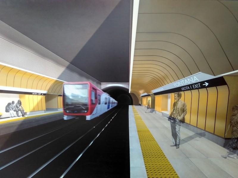 Stazione Fontana: render livello binari