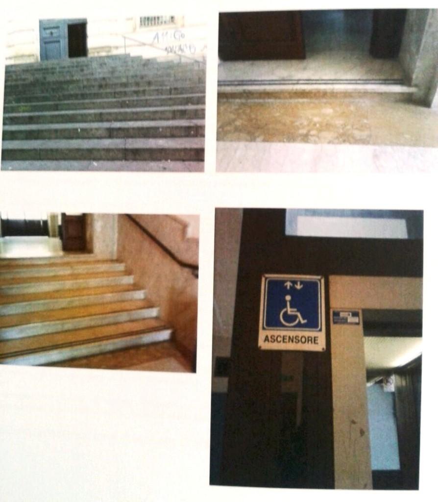 Barriere architettoniche presso il Tribunale di Catania (foto dossier S.istema M.obilità)