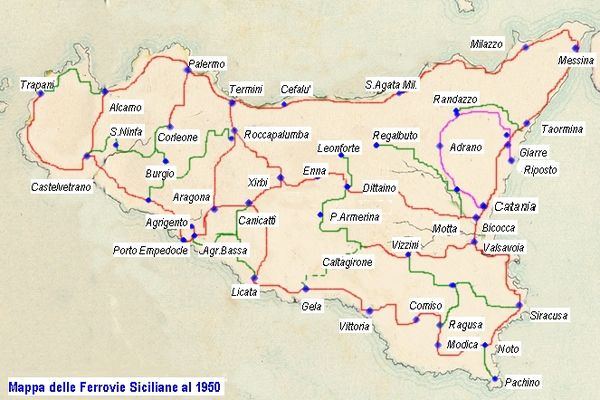 Situazione della rete ferroviaria siciliana prima degli anni '50