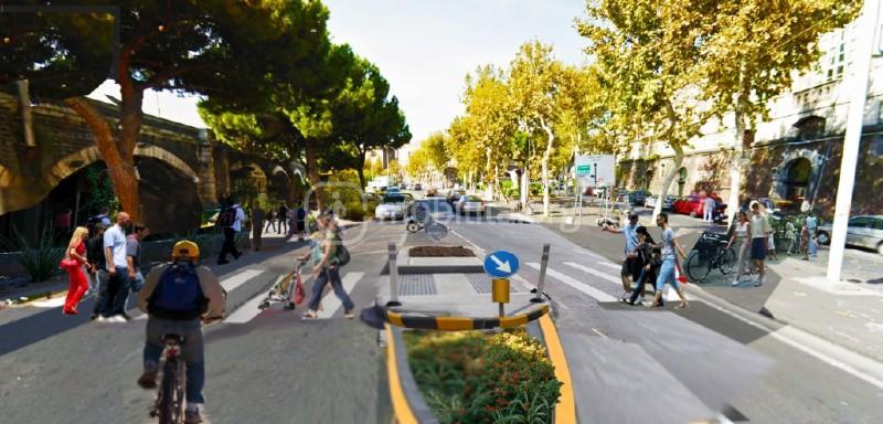 Isola salvagente via Dusmet prima di piazza Borsellino