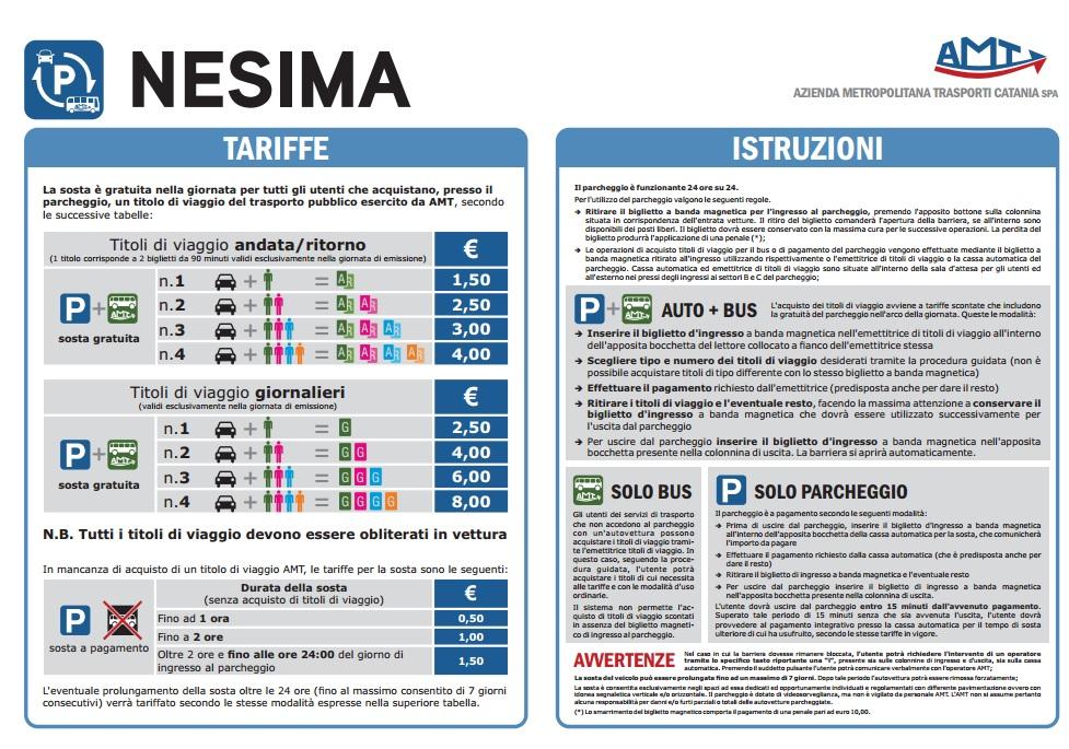Tariffe e istruzioni del parcheggi di interscambio Nesima
