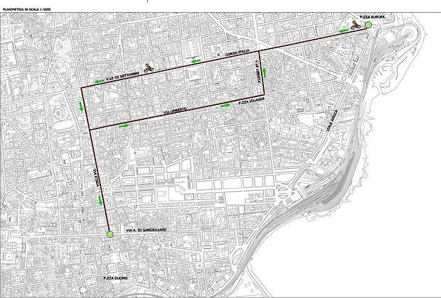 Corsie preferenziali in cui è consentito il transito delle bici. nella planimetria manca il tratto di via Vittorio Emanuele