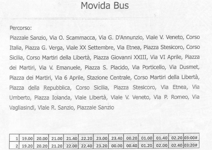 Percorso e orari della navetta Movidabus con capolinea piazzale Sanzio e transito da piazza Verga, entrambe aree di sosta gratuita