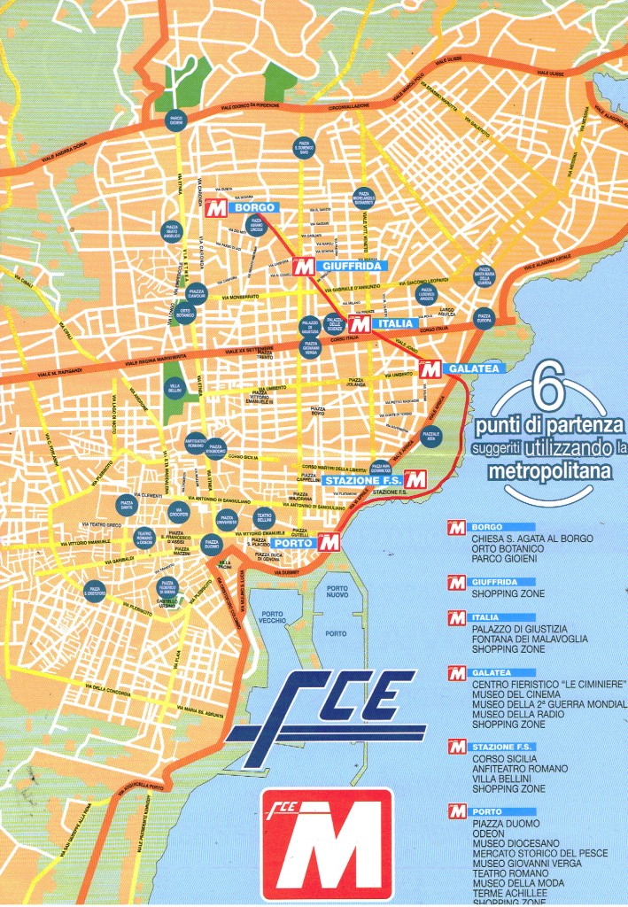 Poli di interesse commerciale e turistico vicino alle fermate della metropolitana di Catania