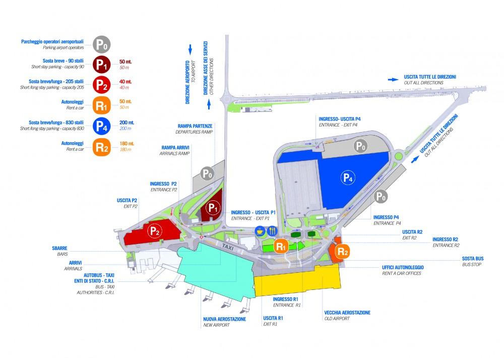 Mappa della viabilità e delle aree parcheggio; il parcheggio P2, diversamente da come specificato nella mappa, è destinato solo alla sosta breve.