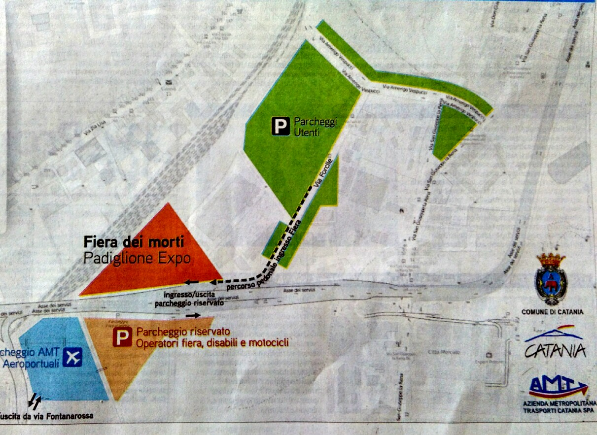 Palnimetria del parcheggio Fontanarossa:  aree di sosta e accesso alla Fiera dei Morti