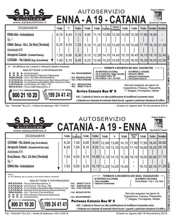 Collegamento Catania  - Enna via A19
