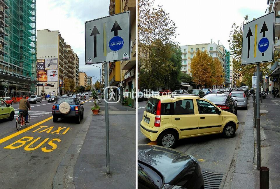 Sosta sulla corsia preferenziale (Viale Vittorio Veneto)
