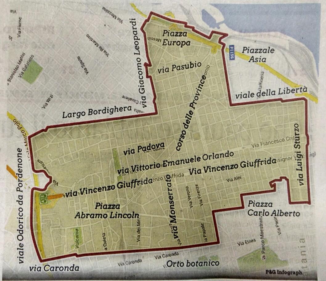 """Area in cui verrà progressivamente esteso il servizio porta a porta [infografica P&G per il quotidiano """"La Sicilia""""]"""