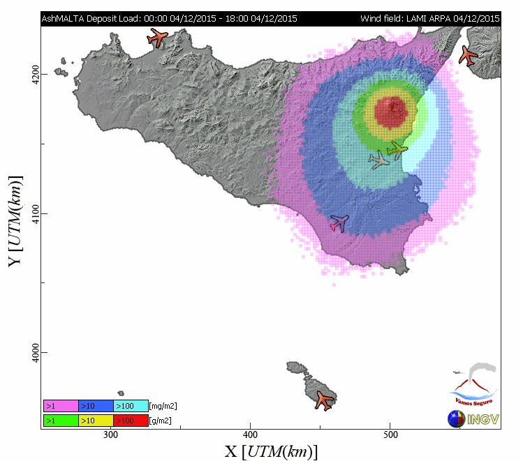 Simulazione dispersione cenere vulcanica Istituto Nazionale di Geofisica e Vulcanologia www.ingv.it