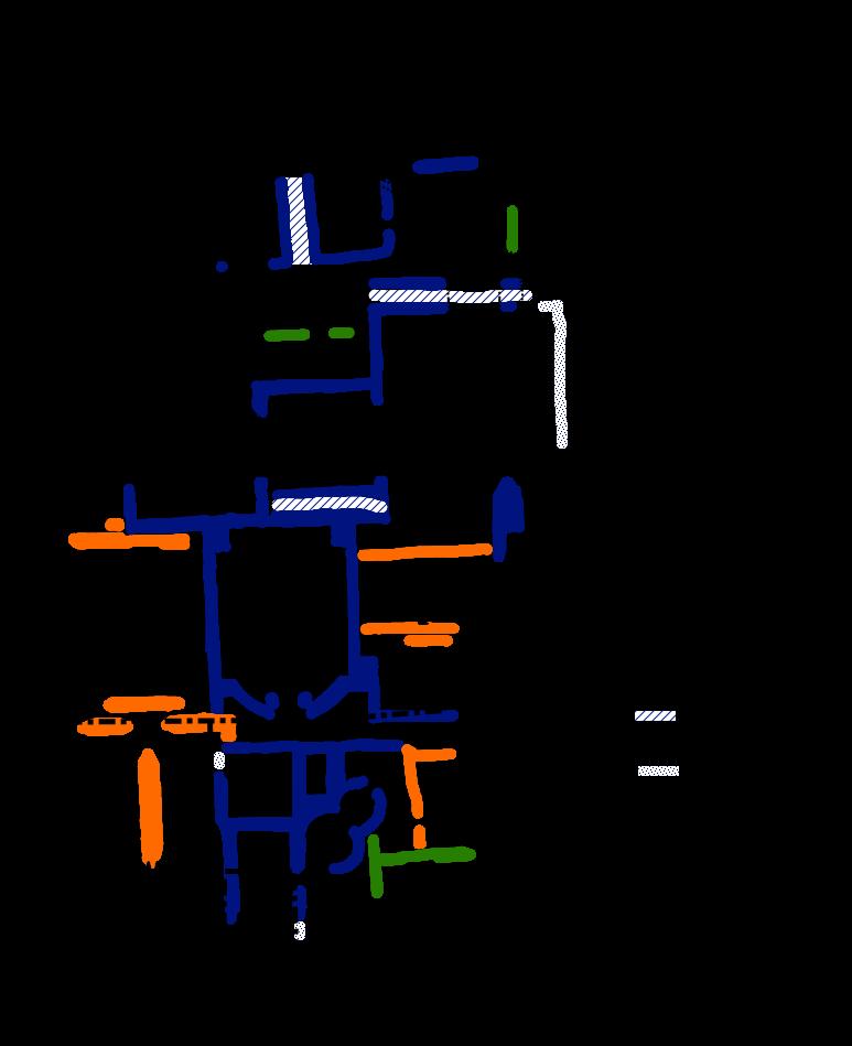 Pianta delle Terme della Rotonda, ricavata dal rilievo di scavo della Soprintendenza ai BB.CC.AA. di Catania. Legenda: Verde: ruderi del primitivo impianto (I-II Secolo dC) Blu: Struttura delle Terme romane di epoca antonina (monumentalizzazione del II-III Secolo dC). Grande sala absidata con vasca ( frigidarium ) Grande sala ad ipocausto ( calidarium ) ambienti (Vasche?) piccolo ambiente un doppio circolo annuncio ipocausto un'area grande pavimentata in opus sectile Arancio: rifacimento e RIDUZIONE DELLE STRUTTURE in eta tardoantica Nero: ambienti della Chiesa di Santa Maria della Rotonda Bianco: piccolo sagrato di fine XVIII Secolo ricavato in un ambiente forse rinascimentale, zona Oggi ingresso e di Accoglienza Visitatori.