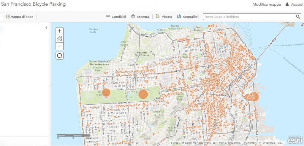 Mappa dei parcheggi per biciclette_ San Francisco_ California