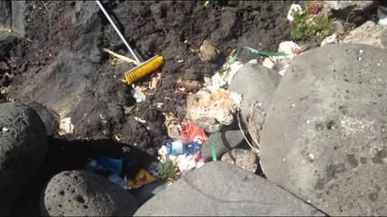 Alcuni dei rifiuti ripuliti dalla spiaggetta