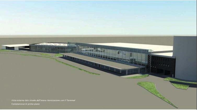 """Il futuro layout del complesso di Fontanarossa: da sinistra a destra, l'ex Terminal Arrivi (attuale padiglione Norma), la vecchia aerostazione """"Filippo Eredia"""" (Terminal Morandi) e l'aerostazione attualmente in uso."""