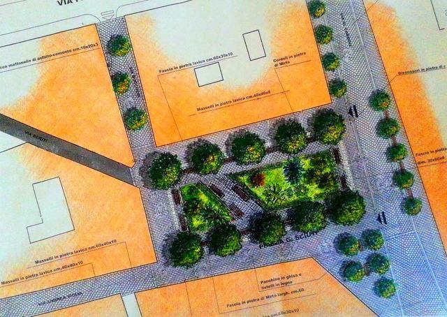 Il progetto di riqualificazione della piazza prevede molteplici strade alberate con pavimentazione in pietra lavica.