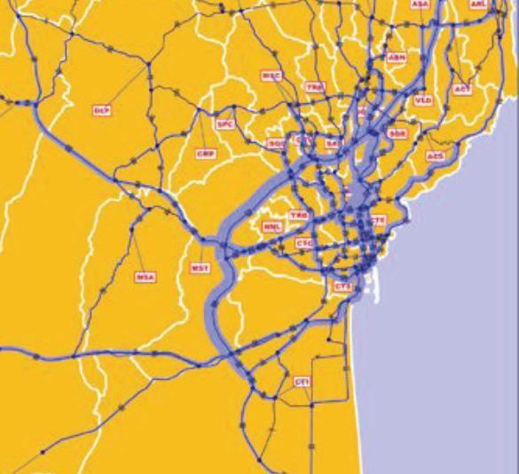 Distribuzione dei flussi privati sulla rete - ora di punta del mattino