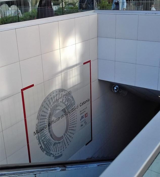 Metro Stesicoro, accesso sud-est: la stazione metropolitana sarà anche parte integrante del Museo Diffuso della Città di Catania. Foto Ettore Marengo