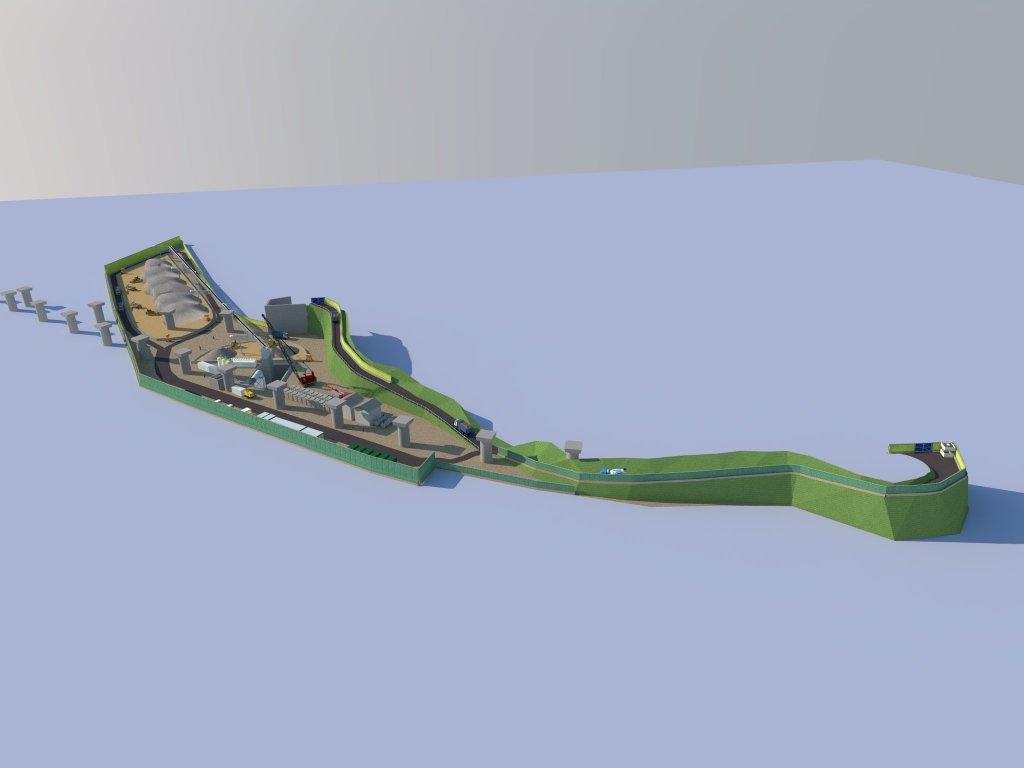 Schema su come verrà impostato il cantiere per l'ingresso della TBM (fonte CMC)