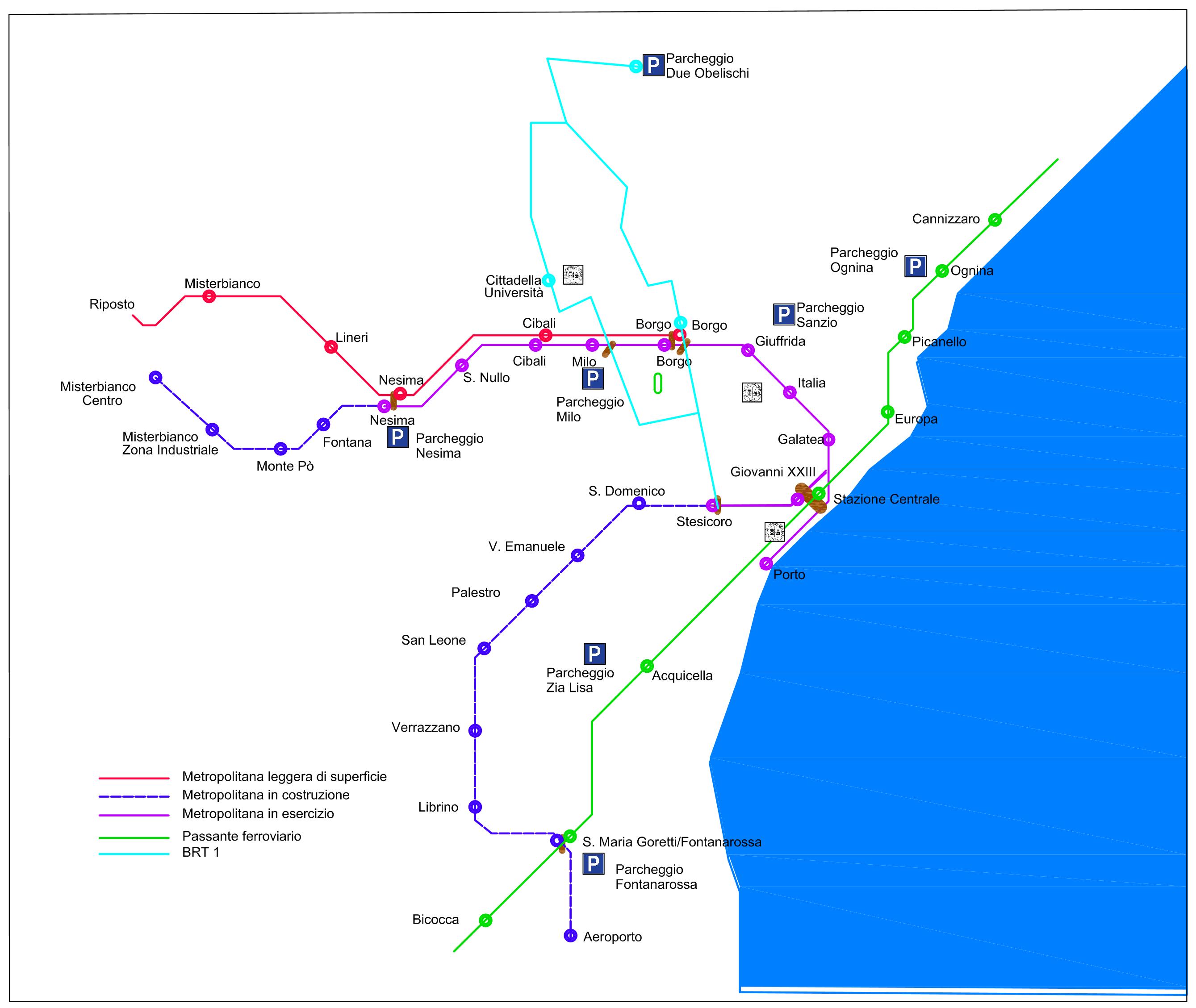 Nell'immagine di copertina: percorso del passante Rfi nel tratto urbano (in verde), interconnesso con la metropolitana Fce (in rosso) e il BRT 1 (in azzurro).