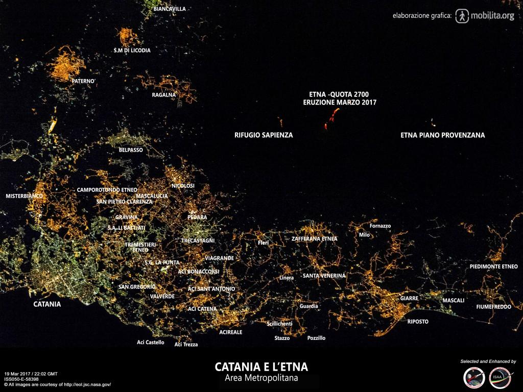 Area Metropolitana di catania vista dalla Stazione Spaziale Internazionale