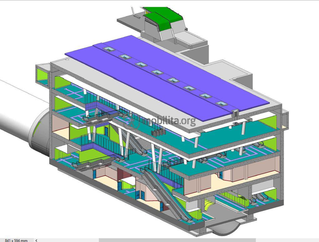 Sezione della stazione Fontana in corso di realizzazione
