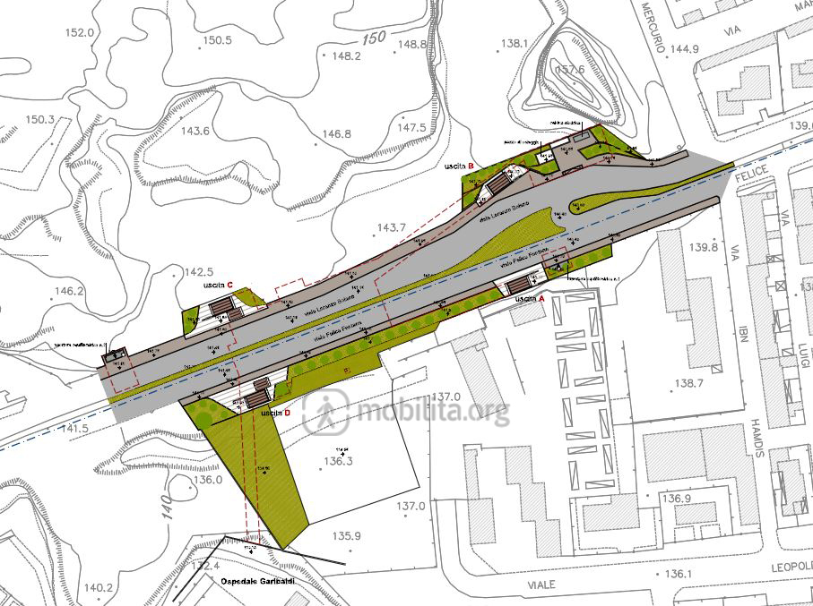 Planimetria della stazione Fontana alla quota stradale