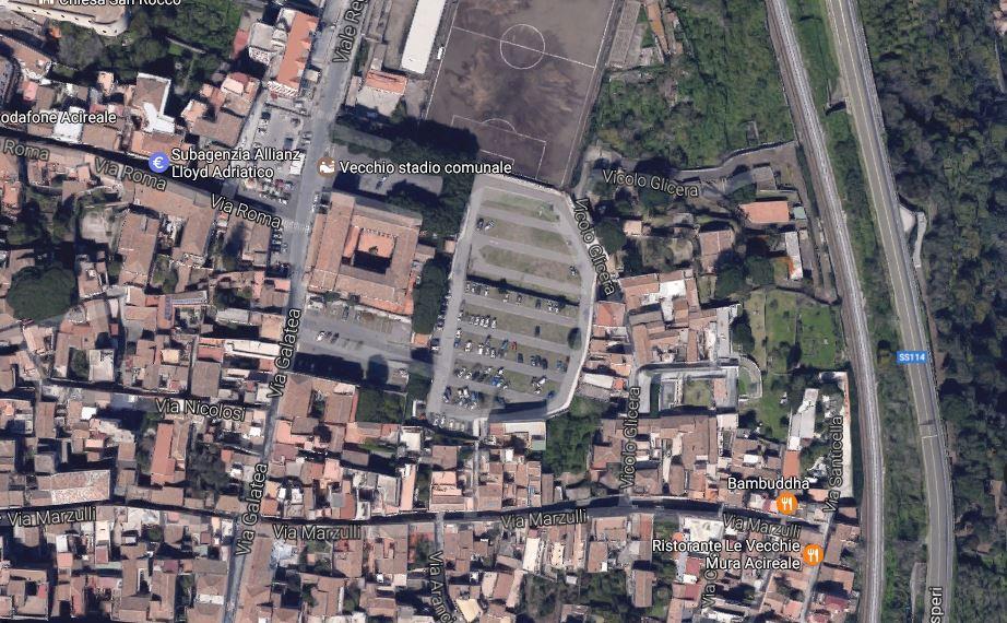 Localizzazione del quartiere Cappuccini dove dovrebbe nascere la nuova fermata nel centro storico di Acireale