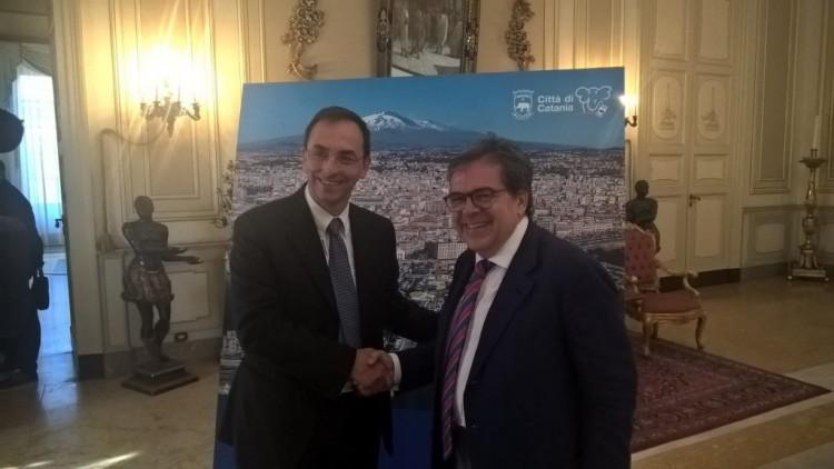 Il Presidente di Anas Gianni Vittorio Armani e il Sindaco di Catania Enzo Bianco