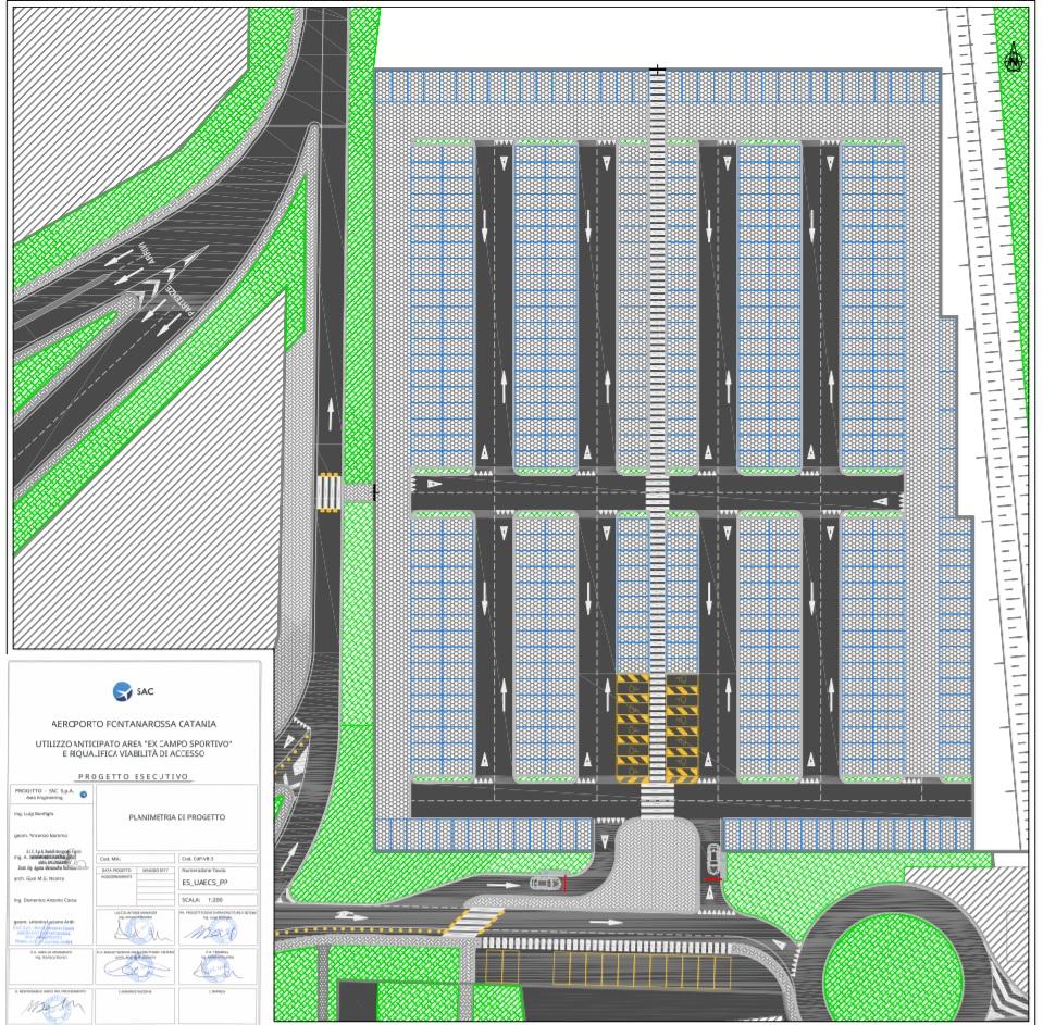 Planimetria del nuovo parcheggio P6 presso l'aeroporto di Fontanarossa
