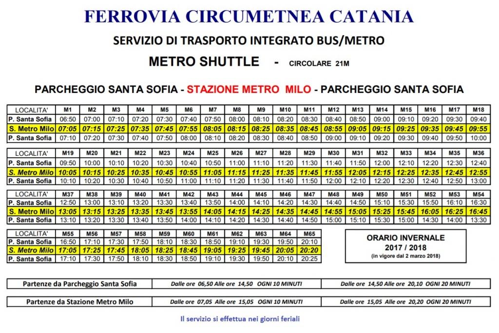 orari metro shuttle primavera 2018