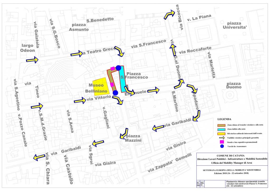 Planimetria pedonalizzazione piazza San Francesco d'Assisi