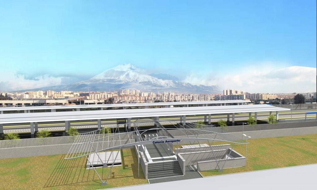 Render della fermata FS di Catania Aeroporto Fontanarossa