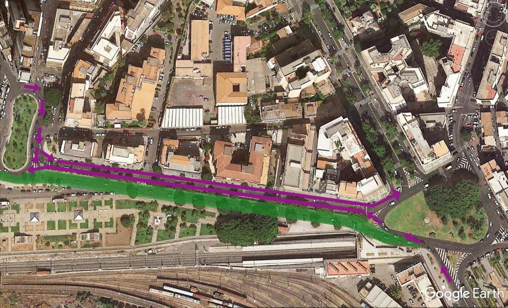 da Piazza Galatea a piazza Europa- in verde percorso ciclopedonale- zona 30