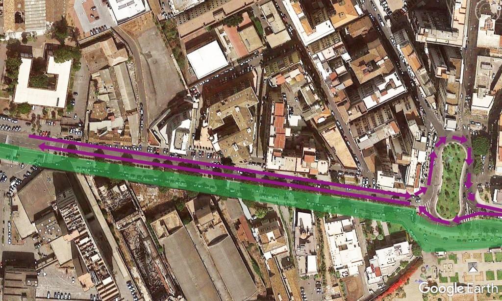 da Piazza Galatea a piazza Giovanni XXIII- in verde percorso ciclopedonale- zona 30