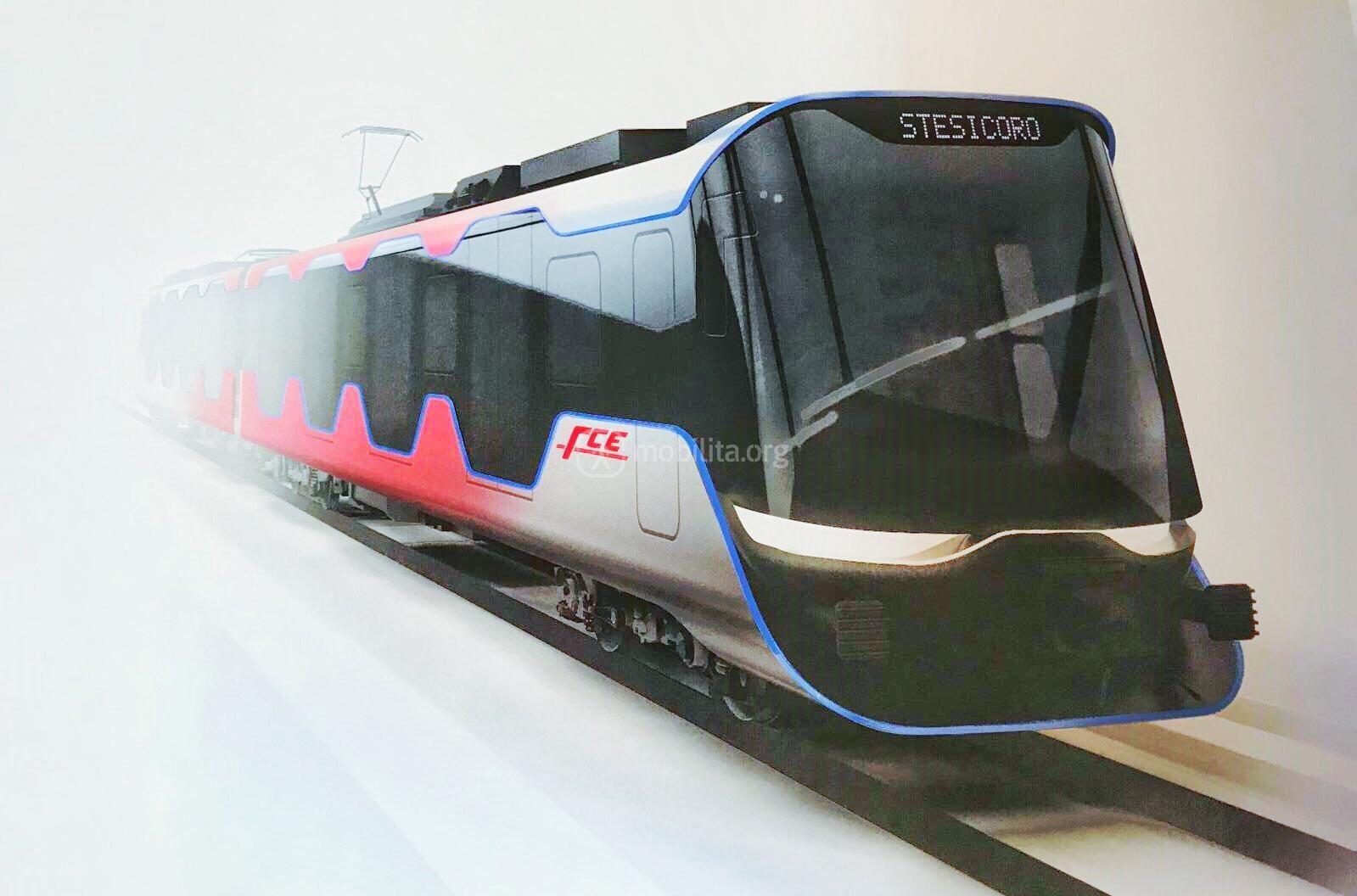 Render del nuovo treno della metropolitana di Catania firmato Pininfarina