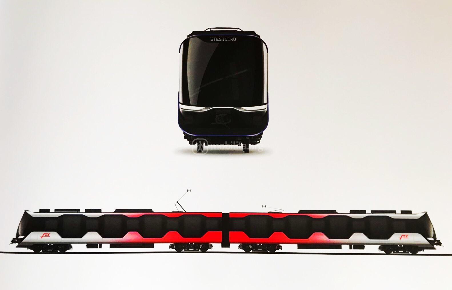 Frontale e laterale del nuovo modello di treno per la metropolitana di Catania. Design Pininfarina