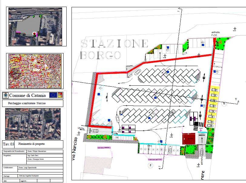 Planimetria area di sosta di via Narciso